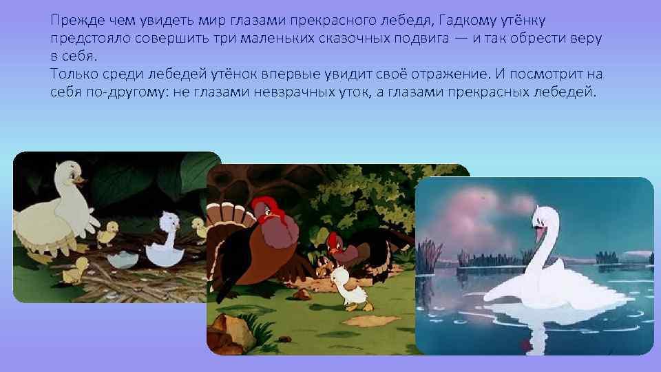 Прежде чем увидеть мир глазами прекрасного лебедя, Гадкому утёнку предстояло совершить три маленьких сказочных
