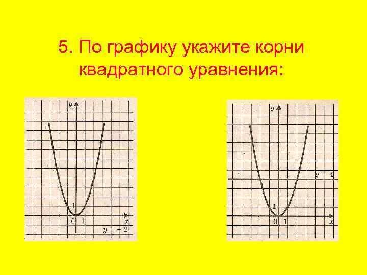 5. По графику укажите корни квадратного уравнения: