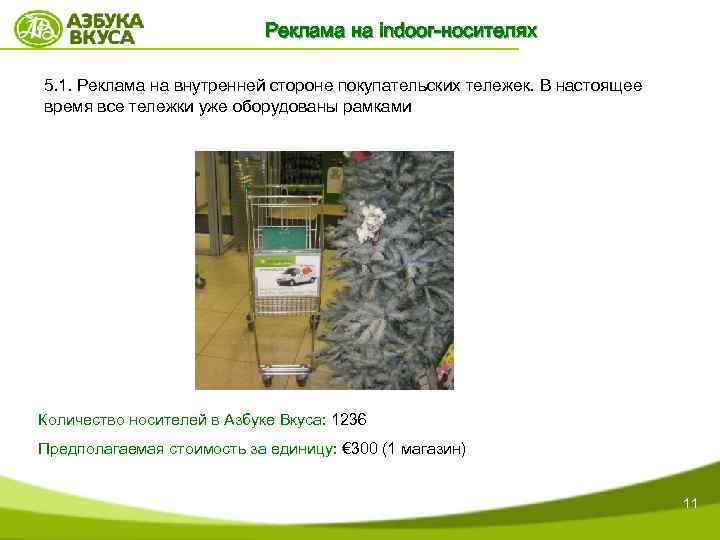 Реклама на indoor-носителях 5. 1. Реклама на внутренней стороне покупательских тележек. В настоящее время