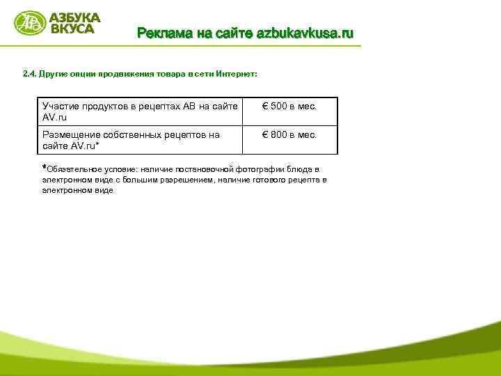 Реклама на сайте azbukavkusa. ru 2. 4. Другие опции продвижения товара в сети Интернет: