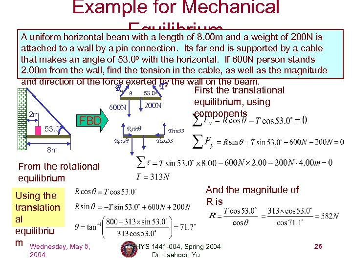 Example for Mechanical A uniform horizontal beam. Equilibrium and a weight of 200 N