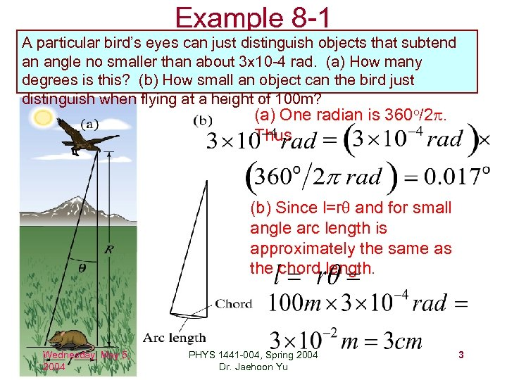 Example 8 -1 A particular bird's eyes can just distinguish objects that subtend an