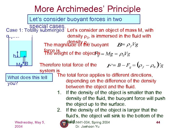 More Archimedes' Principle Let's consider buoyant forces in two special cases. Case 1: Totally