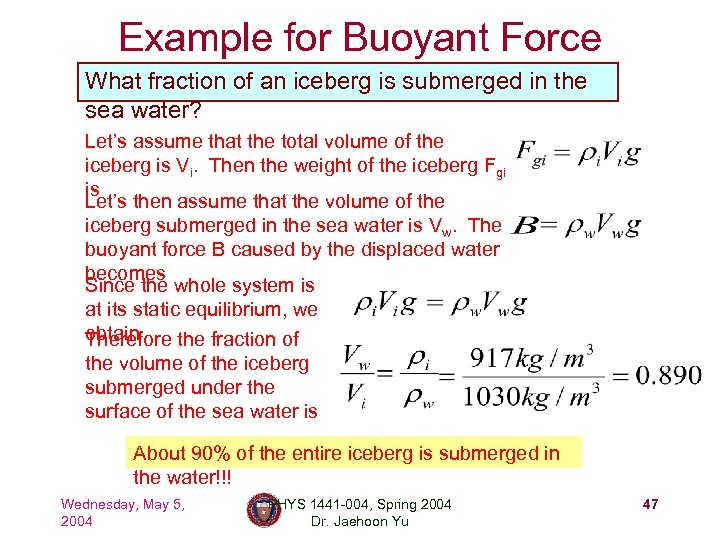 Example for Buoyant Force What fraction of an iceberg is submerged in the sea
