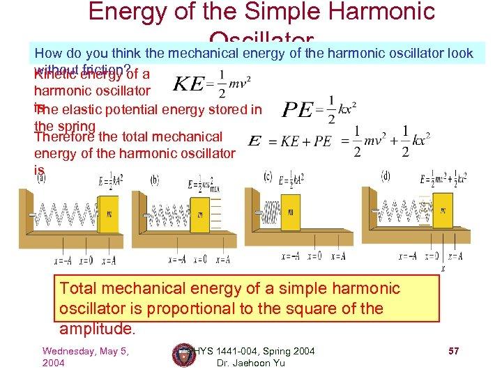 Energy of the Simple Harmonic Oscillator How do you think the mechanical energy of