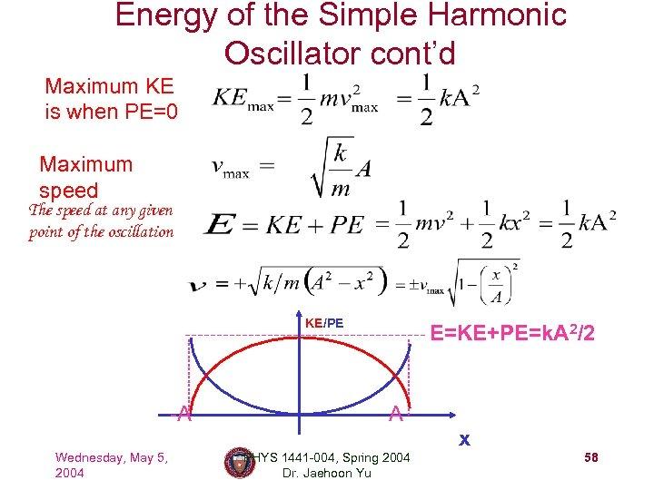 Energy of the Simple Harmonic Oscillator cont'd Maximum KE is when PE=0 Maximum speed