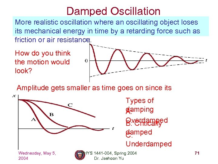 Damped Oscillation More realistic oscillation where an oscillating object loses its mechanical energy in