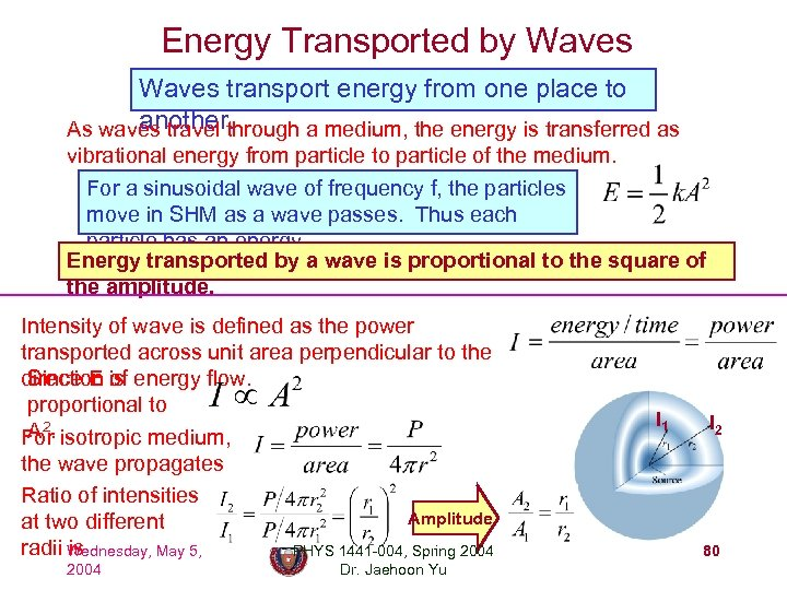 Energy Transported by Waves transport energy from one place to another. As waves travel
