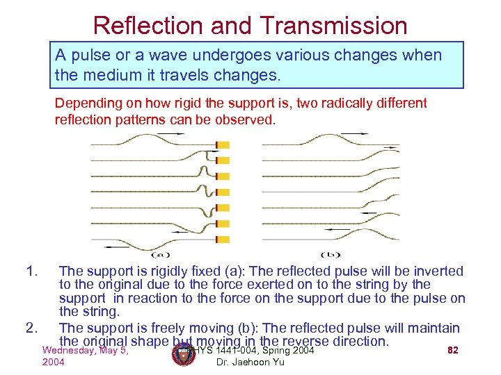 Reflection and Transmission A pulse or a wave undergoes various changes when the medium