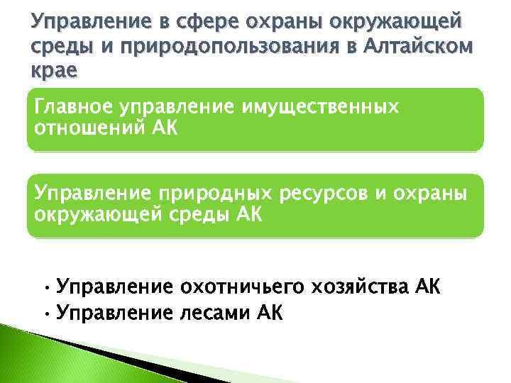 Управление в сфере охраны окружающей среды и природопользования в Алтайском крае Главное управление имущественных