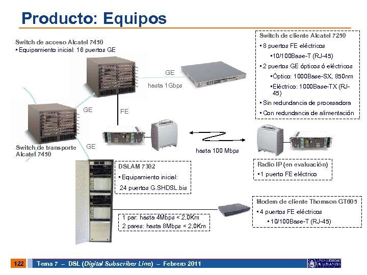 Producto: Equipos Switch de cliente Alcatel 7250 Switch de acceso Alcatel 7450 • Equipamiento