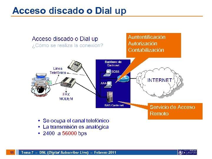 Acceso discado o Dial up Auntentificación Autorización Contabilización Servicio de Acceso Remoto • Se