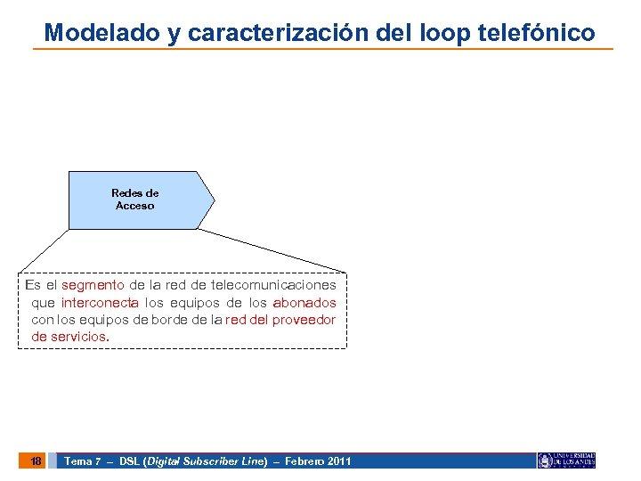 Modelado y caracterización del loop telefónico Redes de Acceso Es el segmento de la