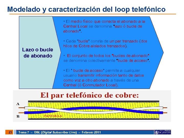 Modelado y caracterización del loop telefónico • El medio físico que conecta el abonado