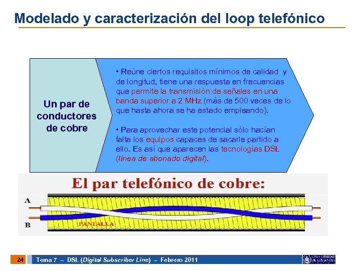 Modelado y caracterización del loop telefónico Un par de conductores de cobre 24 •