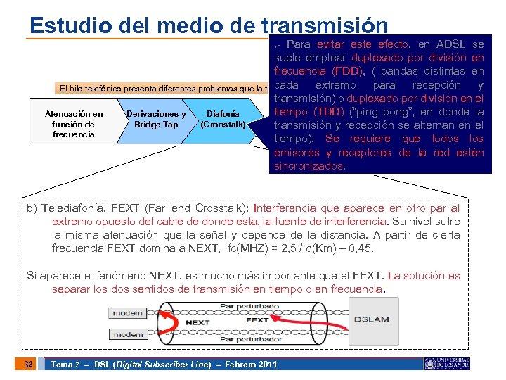 Estudio del medio de transmisión . - Para evitar este efecto, en ADSL se