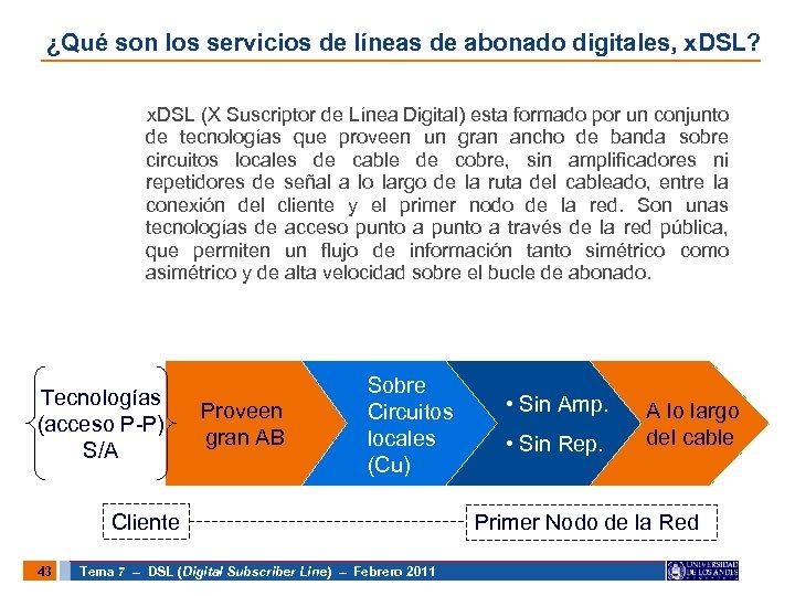 ¿Qué son los servicios de líneas de abonado digitales, x. DSL? x. DSL (X