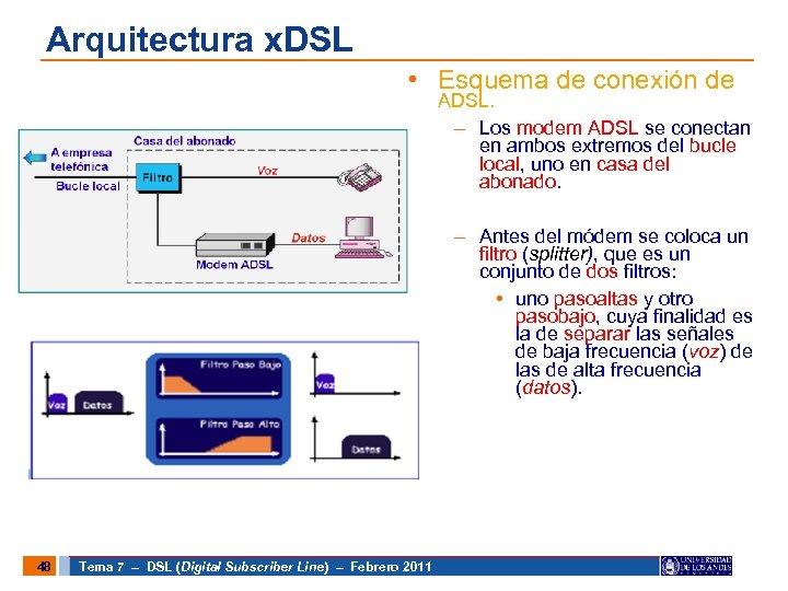 Arquitectura x. DSL • Esquema de conexión de ADSL. – Los modem ADSL se
