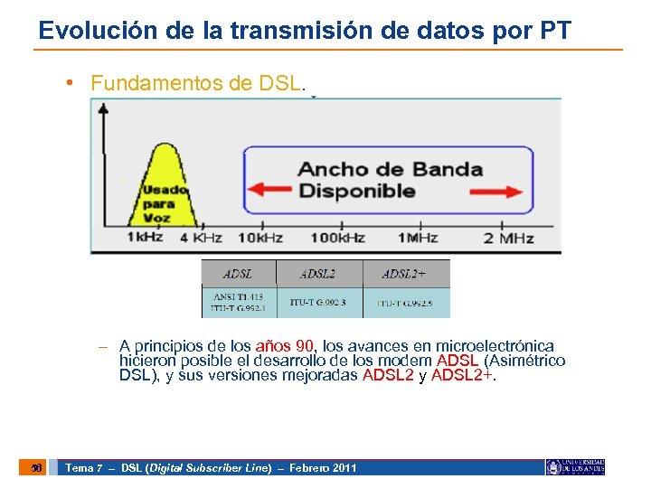 Evolución de la transmisión de datos por PT • Fundamentos de DSL. – A