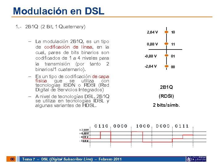 Modulación en DSL 1. - 2 B 1 Q (2 Bit, 1 Quaternary) 2,