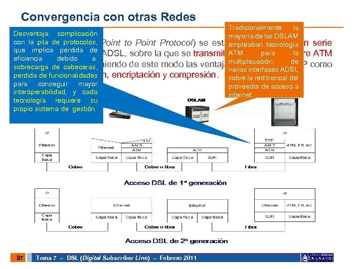 Convergencia con otras Redes Tradicionalmente la Desventaja: complicación mayoría de las DSLAM con •