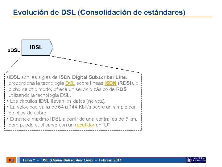 Evolución de DSL (Consolidación de estándares) x. DSL IDSL • IDSL son las siglas