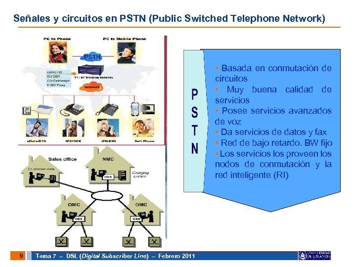 Señales y circuitos en PSTN (Public Switched Telephone Network) • Basada en conmutación de