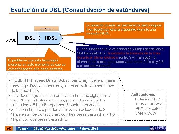 Evolución de DSL (Consolidación de estándares) IUT-G. 991. 1 x. DSL IDSL La conexión