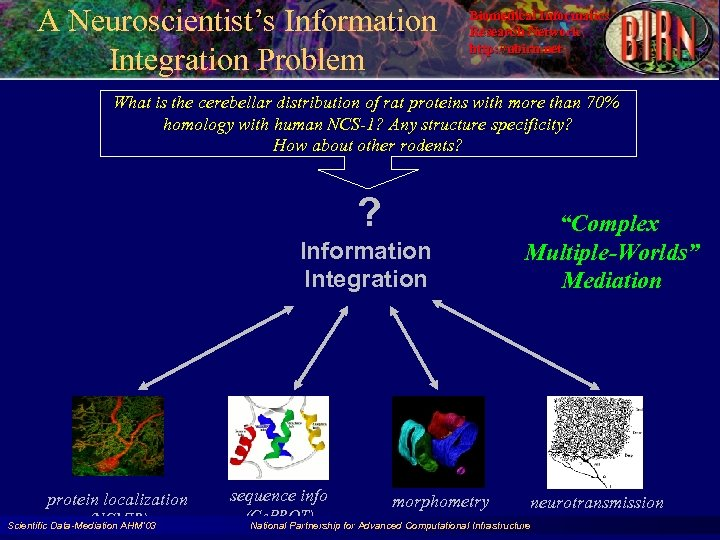 A Neuroscientist's Information Integration Problem Biomedical Informatics Research Network http: //nbirn. net What is