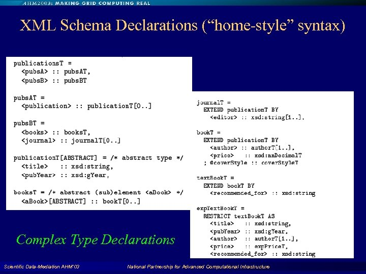 "XML Schema Declarations (""home-style"" syntax) Complex Type Declarations Scientific Data-Mediation AHM'03 National Partnership for"