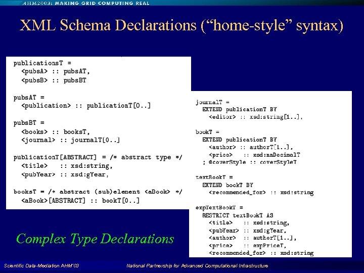 "XML Schema Declarations (""home-style"" syntax) Complex Type Declarations Scientific Data-Mediation AHM'03 National Partnership for"
