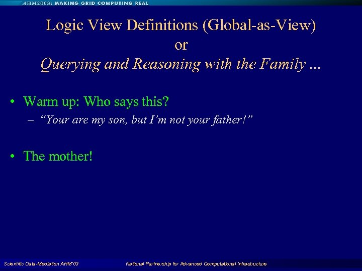 Logic View Definitions (Global-as-View) or Querying and Reasoning with the Family. . . •