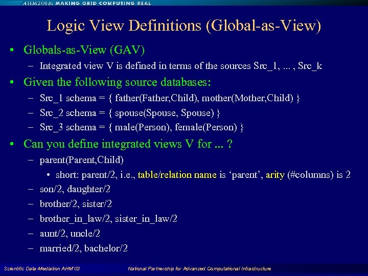 Logic View Definitions (Global-as-View) • Globals-as-View (GAV) – Integrated view V is defined in