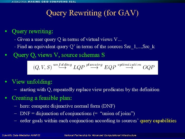 Query Rewriting (for GAV) • Query rewriting: - Given a user query Q in