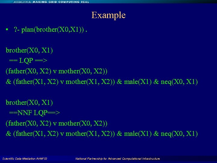 Example • ? - plan(brother(X 0, X 1)). brother(X 0, X 1) == LQP