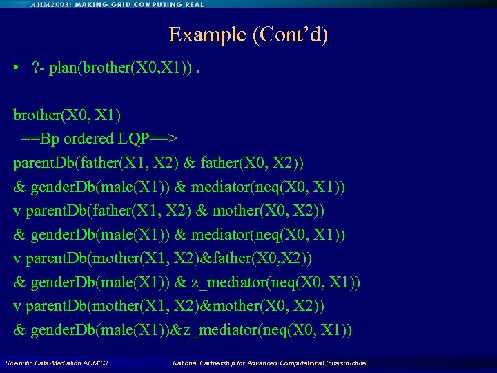 Example (Cont'd) • ? - plan(brother(X 0, X 1)). brother(X 0, X 1) ==Bp