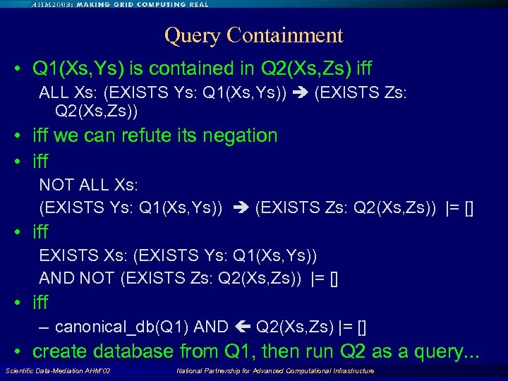 Query Containment • Q 1(Xs, Ys) is contained in Q 2(Xs, Zs) iff ALL