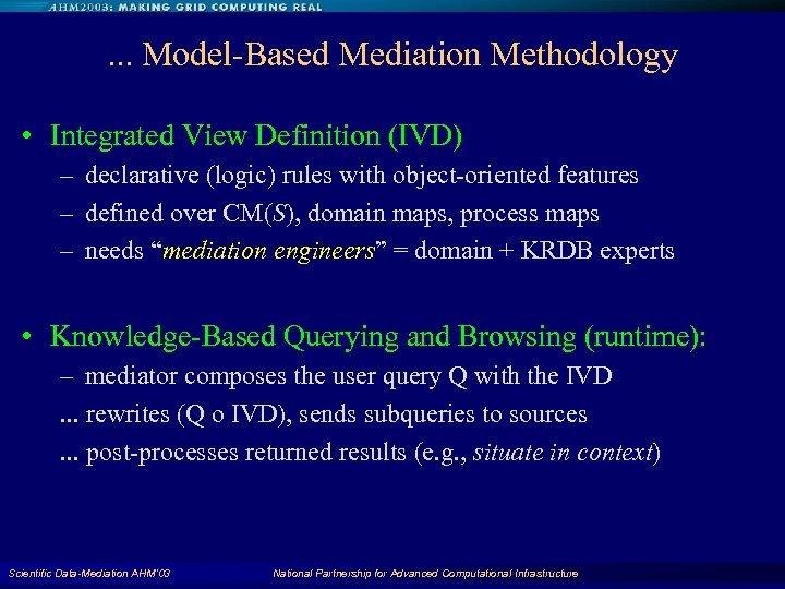 . . . Model-Based Mediation Methodology • Integrated View Definition (IVD) – declarative (logic)
