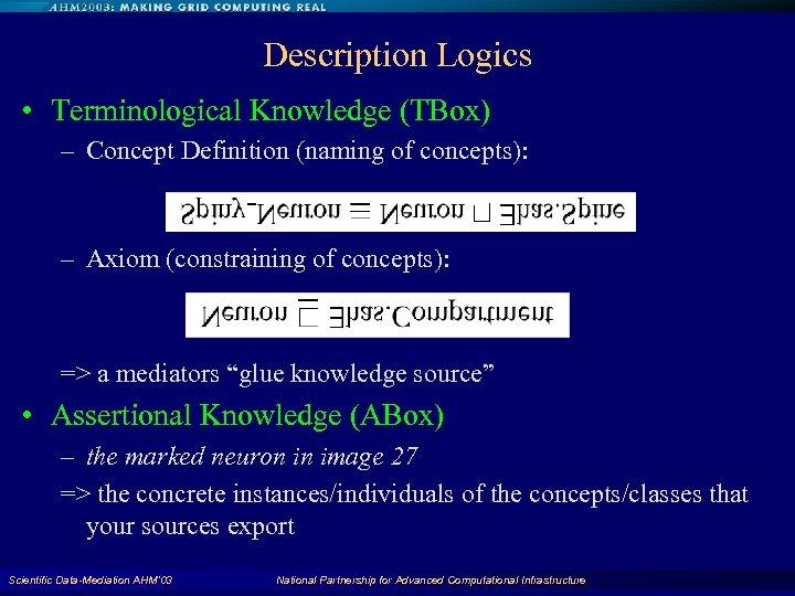 Description Logics • Terminological Knowledge (TBox) – Concept Definition (naming of concepts): – Axiom