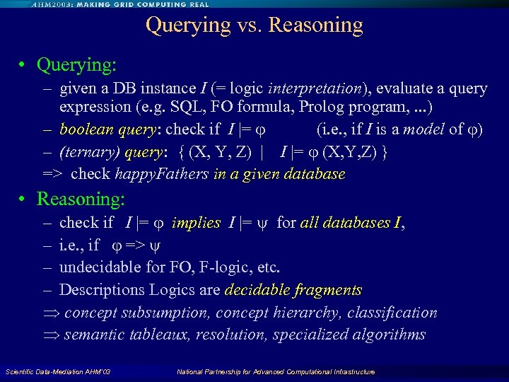 Querying vs. Reasoning • Querying: – given a DB instance I (= logic interpretation),