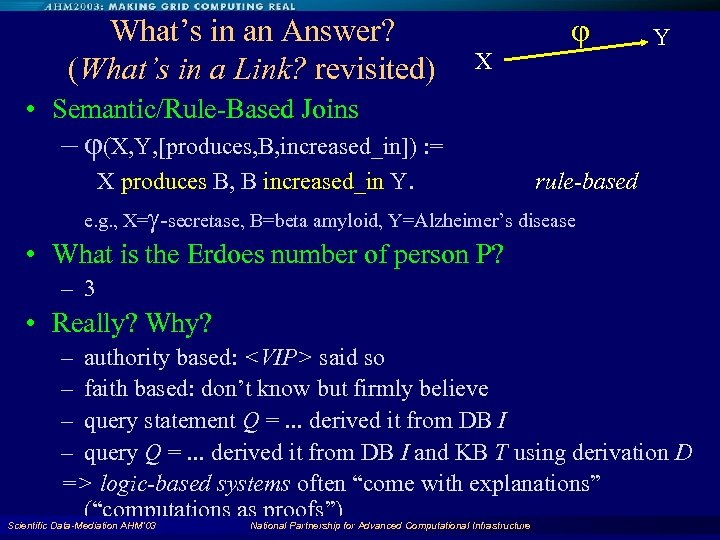 What's in an Answer? (What's in a Link? revisited) X Y • Semantic/Rule-Based Joins