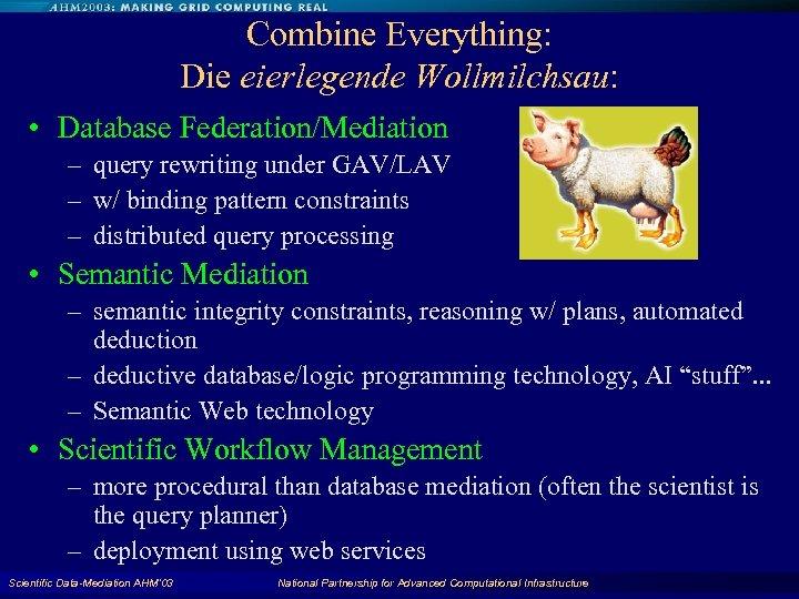 Combine Everything: Die eierlegende Wollmilchsau: • Database Federation/Mediation – query rewriting under GAV/LAV –
