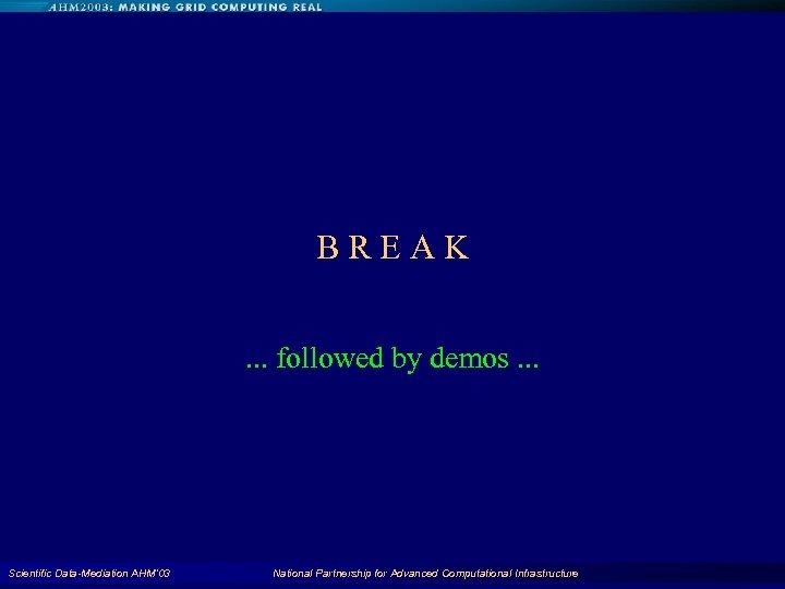BREAK. . . followed by demos. . . Scientific Data-Mediation AHM'03 National Partnership for