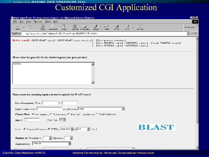 Customized CGI Application Scientific Data-Mediation AHM'03 National Partnership for Advanced Computational Infrastructure 80