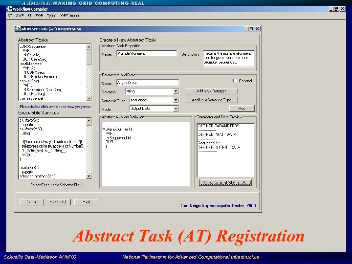 Abstract Task (AT) Registration Scientific Data-Mediation AHM'03 National Partnership for Advanced Computational Infrastructure 87