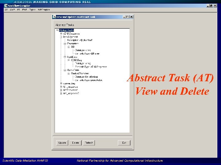 Abstract Task (AT) View and Delete Scientific Data-Mediation AHM'03 National Partnership for Advanced Computational