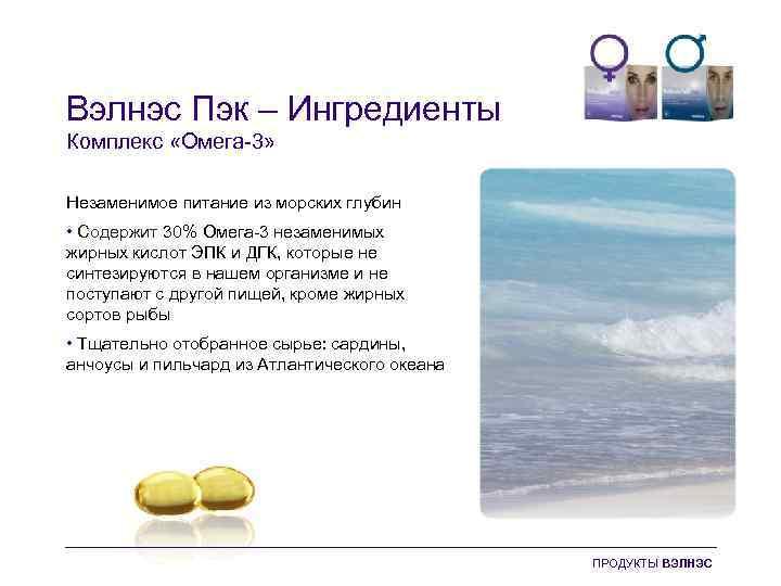Вэлнэс Пэк – Ингредиенты Комплекс «Омега-3» Незаменимое питание из морских глубин • Содержит 30%