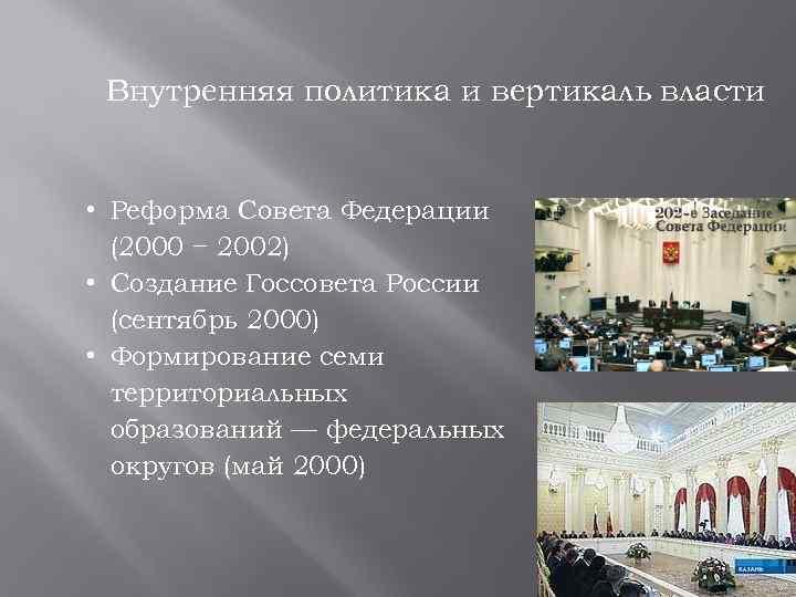 Внутренняя политика и вертикаль власти • Реформа Совета Федерации (2000 − 2002) • Создание