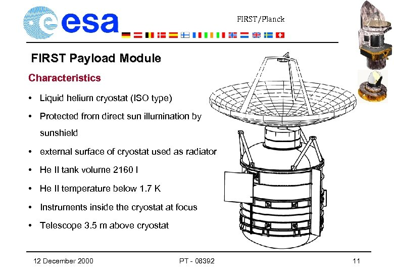 FIRST/Planck FIRST Payload Module Characteristics • Liquid helium cryostat (ISO type) • Protected from