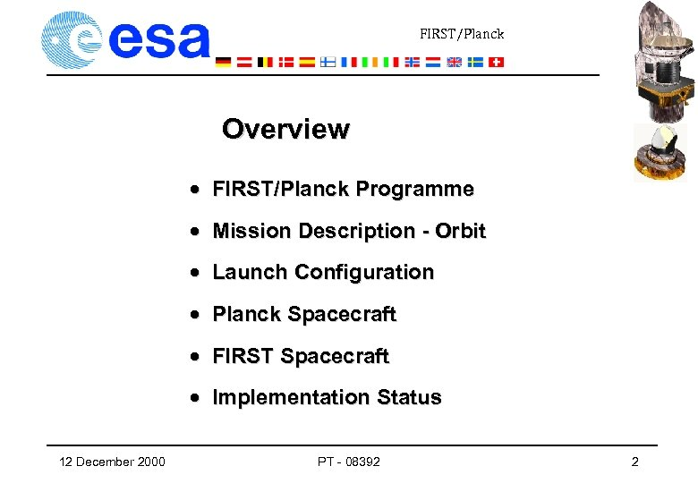 FIRST/Planck Overview · FIRST/Planck Programme · Mission Description - Orbit · Launch Configuration ·